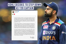 Virat Kohli will step down as captain of the team in T20 matches, after T20 World Cup